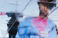 Reflections, Piccadilly Circus ({Laura McGregor}) Tags: rain raining wet reflection reflections upsidedown flipped umbrella advertisement illuminated sign piccadillycircus london city urban westend neon lights fujifilm fujixpro2 xpro2
