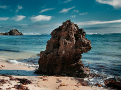 Ancient Rock (Latitude 33 Photography) Tags: beach rock sigma waves surf sky clouds