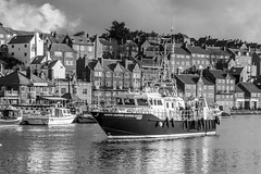 Fisheries Protection Vessel on its way out of Whitby (golferdave2010) Tags: 2017 7d autumn blackandwhite boat canon clouds coast landscape november october sea water whitby winter yorkshire