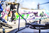 Bar none (Paul Wrights Reserved) Tags: bmx bokeh bold bright bokehphotography focus 50mm f14 pentax k1 bike bmxlife cyle cyclist skatepark bikelife sunny sunnyday graffiti tricknuts bar handlebar wheel wheels shadow sport