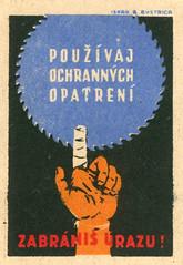 czechoslovakian matchbox label (maraid) Tags: safety work warning czechoslovakia czech czechoslovakian matchbox label injury hand finger bandage packaging