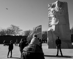 King for a Day (solas53) Tags: mlk martinlutherking martin luther king washington dc b bw blackwhite blackandwhite monochrome statue mall nationalmall tourists street candid