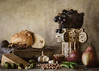 Feast of a Pharaoh (Lisa Bell Jamison) Tags: food stilllife ancient roman grecoroman bread fruit pear cheese garlic peas lentils olive column photographybylisabelljamison