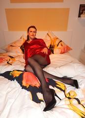 Good Night (Rikky_Satin) Tags: silk satin blouse nighty nightie pantyhose pumps crossdresser transgender transvestite tgirl tgurl gurl