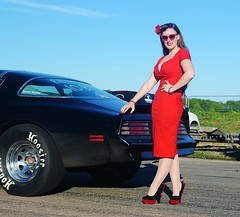 Holly_9138 (Fast an' Bulbous) Tags: classic american car vehicle automobile girl woman hot sexy chick babe pinup model people outdoor long brunette hair red wiggle dress high heels stockings nylons wife beauty