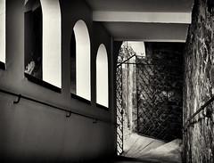 Treppab (Helmut Reichelt) Tags: bw sw licht schatten hofstiege residenz treppab innbrückgasse treppe passau stadt altstadt frühling juni niederbayern bayern bavaria deutschland germany leica leicam typ240 captureone11 silverefexpro2 leicasummilux50mmf14asph