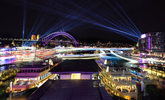Busy Circular Quay || Vivid 2018 (David Marriott - Sydney) Tags: sydney newsouthwales australia au cahill expressway vivid 2018 circular quay long exposure starstax ferry nsw harbour bridge night laser