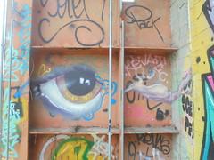 255 (en-ri) Tags: occhio eye bianco marrone azzurro nero torino wall muro graffiti writing parco dora