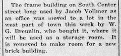 1917 - Jacob Vollmer builds brick bldg on S Center - Enquirer - 26 Apr 1917