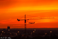Sun, plane and crane did not land in Spain ;-) (PerfumeG2011 (on and off )) Tags: montréalquébeccanada lastsunsetofspring 2018 airplane sunset crane plane montreal montréalpierreelliotttrudeauinternationalairport canada montréal sky silhouette