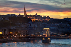 Chain Bridge from Marriott Hotel Room, Budapest (snigdhendu) Tags: sunset budapest sony a7 a7ii travel danube church