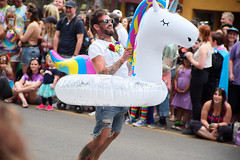 Unicorn taking Flight! (Kurayba) Tags: edmonton alberta canada yeg pride yegpride parade 2018 pentax k1 flying unicorn inflatable taking off take blast real authentic person fa 28200 f3856 smcpentaxfa28200mmf3856alif