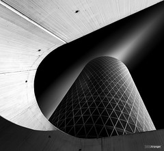 Archway Tower (v.2.0) (Holger Glaab) Tags: frankfurt frankfurtammain travel city urban westhafen westhafentower blackwhite monochrome tower skyscraper fineart building black white