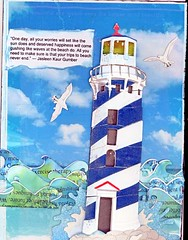 """5 x 7 Journal Page """"Waves"""" (gwillisinc) Tags: swapbot inks diecuts journal waves water lighthouse quote"""