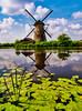 Mühle - Mills - Molens (achim-51) Tags: wasser himmel wolken gras mühle mills molens kinderdijk zuidholland niederlande panasonic lumix dmcg5 blau