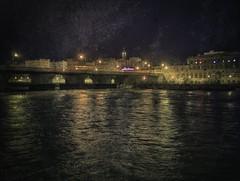 Night Crossing (delmarvajim) Tags: digitalart digitalprocessing digitaleffects fineart architecture bridge nightscene cityscape river reflection water light shadow fantasy