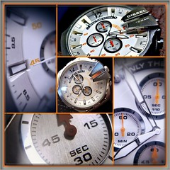 Watching (MoparMadman63) Tags: wristwatch watch stainlesssteel frame time dial round orange quartz large heavy collage