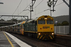 8049 Leading A10 on 4176 passing through a damp Awaba, 19/05/18 (Matthew Proctor) Tags: ssr 80 alco locomotives train transfer wet rainy cloudy overcast
