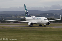 C-GUWJ Boeing 737-700 Westjet Glasgow airport EGPF 22.06-18 (rjonsen) Tags: plane airplane aircraft aviation airliner transatlantic taxying departure