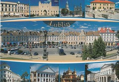 postcrossing - postcard (Jessman Green) Tags: cityscape lublin church townhall buildings parkingspot heaven