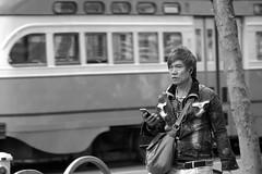6-19 Candids 45 (TheseusPhoto) Tags: blancoynegro blackandwhite monochrome monotone noir people streetphotography street candid sanfrancisco marketstreet city citylife man hair jacket bag guy face streetportrait