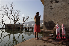 prayer, hafeshwar (nevil zaveri (thank U for 15M views:)) Tags: zaveri people india hafeshwar rural tribal village tree trees jungle forest landscape photography photographer images photos blog stockimages photograph photographs nevil nevilzaveri stock photo gujarat gujrat holy river narmada sardarsarovardam catchment area religion religious lake temple heritage ancient mountain water priest prayer god goddess idol reflection worship pray