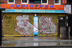 Farao / Oker (Alex Ellison) Tags: farao vt oker gsd throwup throwie eastlondon shop store shutter urban graffiti graff boobs