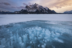 What Lies Beneath (andrewpmorse) Tags: abrahamlake alberta canada banff banffnationalpark ice winter cold sunset nationalpark nationalparks frozen bubbles frozenbubbles mountains lake snow canon canon5dmarkiv 1635mmf4l leefilters leelandscapepolarizer focusstack landscape landscapes evening clouds