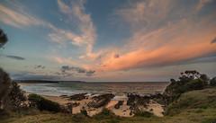 Sundown again (OzzRod (on the road again)) Tags: pentax k1 irix15mmf24blackstone seascape skyscape clouds moon ocean sea surf beach rocks shoreline landscape cuttagee