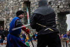 Geoffrey of Hampshire vs Geraint of Penlleyn (Coed Celyn Photography) Tags: medieval reenactment harlech snowdonia north wales knight knights castle castell cadw history historic historical living larp battle armour armor fighting fight weapon weaponry weapons costume clothing outfit sir chainmail sword swords shield glave helmet