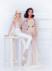 Eden and Evelyn (Michaela Unbehau Photography) Tags: integrity toys eden blair never ordinary evelyn weaverton glittering gala junior amezquita need2say silanak fely felina canalis fashion royalty fr fr2 nuface bride dridal wedding white lace michaela unbehau fashiondoll doll dolls toy photography