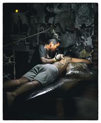 Night Market Tattoo (paulh192) Tags: bangkok thailand people tattoo night lowlight art market candid leica