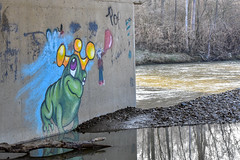 Frog Prince of the Underpass (thatSandygirl) Tags: outdoors april mountvernon ohio spring graffiti underpass cement frog crown bright cartoon prince king water memorialpark kokosingriver kokosinggaptrail art