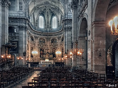 ... (Jean S..) Tags: church indoors religion lights seat chair stone pilar statue paris iphone