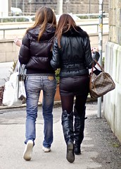 Friends (tonyhudson12526) Tags: smoking frombehind boots street candid bag leather jeans