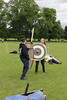 Historia Normannis Meadows June 2018-790 (Philip Gillespie) Tags: historia normannis central scotland sparring fighting shields swords axes spears park grass canon 5dsr men man women woman kids boys girls arms feet hands faces heads legs shins running outdoor tabards chain mail chainmail helmets hats glasses sun clouds sky teams solo dead act acting colour color blue green red yellow orange white black hair practice open tutorial defending attacking volunteer amateur kneeling fallen down jumping pretty athletic activity hit punch