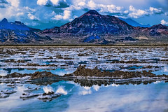 Bonneville Salt Flats, state of Utah, USA (Photographer South Florida) Tags: greatsaltlake thegreatsaltlake geology lake water saltwater utah usa america scenic mountains clouds nature vacation lakebonneville americasdeadsea salt bonnevillesaltflats desert