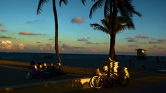 Beach Dusk (Andy Zito) Tags: beach ocean dusk sun set setting twilight time end fun day shadows awesome light rays hollywood south florida bikes bicycles blanket orange red clouds over