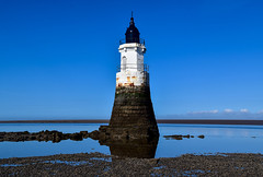 Plover Scar Lighthouse (rustyruth1959) Tags: horizon ocean sky building navigationaid lune luneestuary estuary water sea beach nikon nikond5600 tamron16300mm uk england lancashire cockerham ploverscarlighthouse abbeylighthouse tower structure coast rocks reflection seaside outdoor landscape seascape clouds silt sand bluesky outcrop rockyoutcrop stonework railings alamy bricks