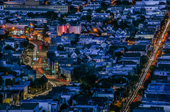 blue hour castro district (pbo31) Tags: sanfrancisco city urban california nikon d810 color march 2018 spring boury pbo31 over view night dark lightstream traffic roadway bluehour blue rooftops castrodistrict marketstreet tankhill calendonheights