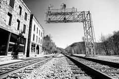 Main Street (JCTopping) Tags: 6d ghosttown thurmond 19mm train tracks westvirginia canon blackandwhite rail unitedstates us