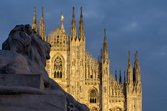 The Lion And The Cathedral (JH Images.co.uk) Tags: duomo hdr dri architecture lion sky cathedral milan itlay