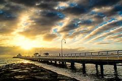 The saints are coming (Pat Charles) Tags: stkilda pier jetty clouds sea beach sunset sun ocean portphillipbay breakwater bay baybeach frontbeach melbourne victoria australia nikon leadinglines 1001nights 1001nightsmagiccity