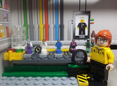 Sneaking into the factory! (Catanas) Tags: lego minifigure factory 40th speedcat boba fett space nurse pixal