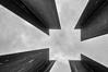 Square (Leipzig_trifft_Wien) Tags: berlin deutschland representation steel square watchtower symbol sculpture monochrome art border bernauer mauerpark mauer history sky bnw black white upwards