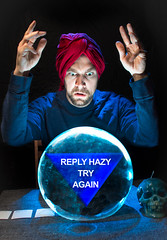 Misfortune Teller 92/365 (stevemolder) Tags: fortune teller crystal ball 365 project canon sigma 30mm self portrait blue tarot reading