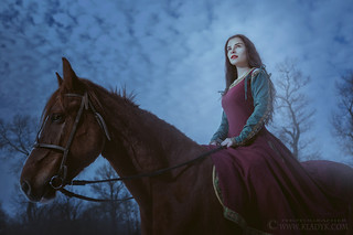 Magical woman on a horse.