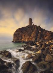 The tower (explore) (Rafael Díez) Tags: españa andalucia mojacar mar amanecer agua rocas torre elpirulico panorámica almeria rafaeldíez filtro sunset sol sun nubes