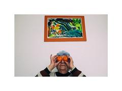 mandarin_lady (Marek Pupák) Tags: portrait old woman color fuji fujifilm mandarin blue hair orange colour photography x100t digital fruit eyes