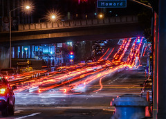 post giant's dodgers game traffic (pbo31) Tags: sanfrancisco california night dark black nikon d810 color city urban boury pbo31 april 2018 spring lightstream motion traffic roadway 1st financialdistrictsouth game baybridge giants rinconhill motionblur howardstreet bridge red